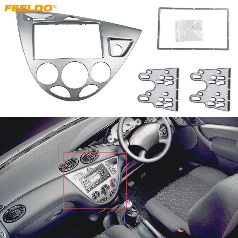 FEELDO argent voiture 2DIN panneau stéréo Fascia Radio réaménagement Dash kit d'outils pour habillage pour Ford Focus 98 ~ 04 (RHD)/Fiesta 95 ~ 01 (RHD) # AM5038