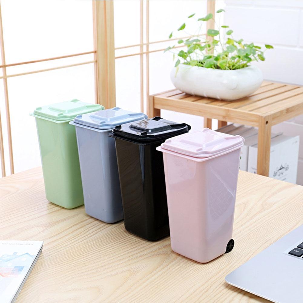 LanLan Creative Mini Wheelie Trash Can Plastic Storage Bin Desktop Organizer Pen/Pencil Cup