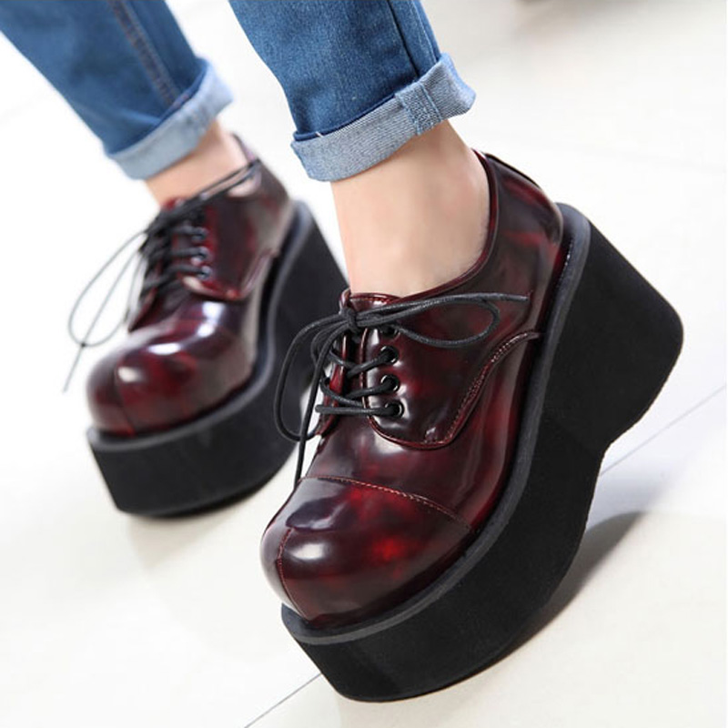 Women Booties <font><b>Demoni</b></font> Ankle Motorcycle Boots Goth Punk Style Creeper Shoes Womens Platform Wedge Boots Black women Lace Up Boots