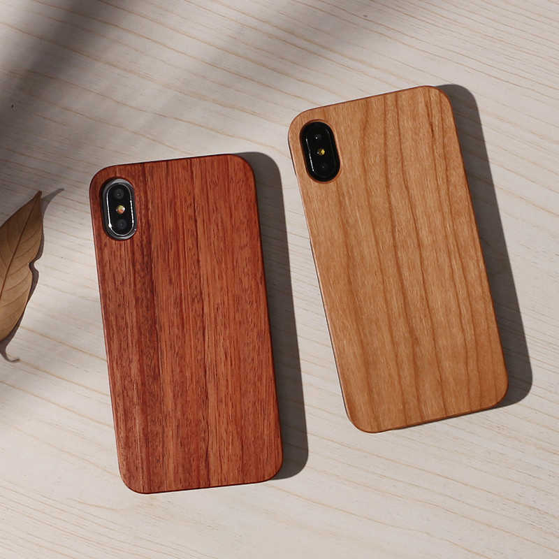 Real Wood Case For iphone X 8 7 6 6S Plus 5S SE XS Max Cover Natural Bamboo Wooden Hard Phone Cases For Samsung Galaxy S8 S9