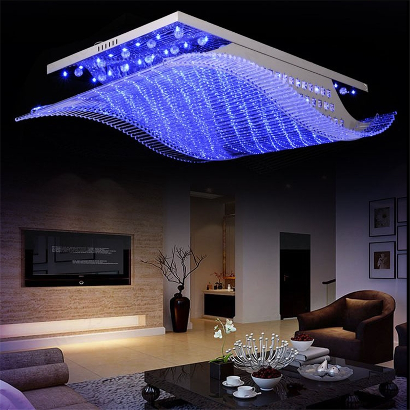 Wonderland Remote Controls Light Change 4 Color Modern LED Crystal Iron Ceiling Lights Lustre Lamp For Home Living Room PLL-700