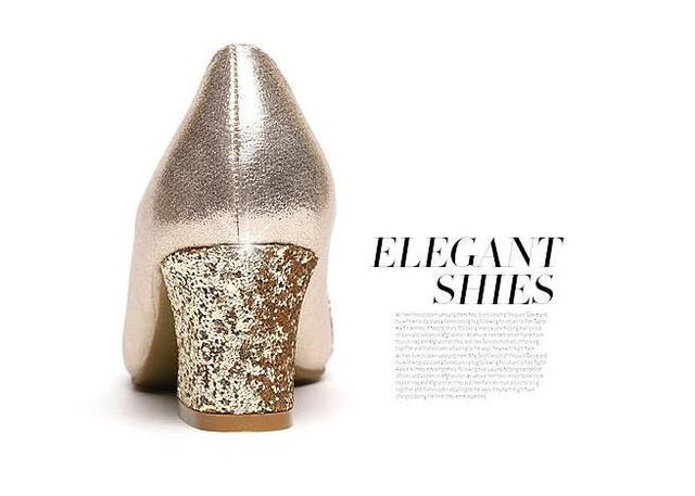 2018 Women Pumps Sweet Style Square High Heel sequins Pointed Toe Spring and Autumn Elegant Shallow Ladies Shoes Size 34-41 E058 4