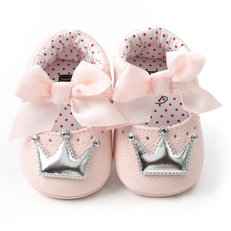 Baby Girl Cute PU Leather Shoes Kid Moccasins First Walkers Crown Bow Soft Soled Non-slip Footwear Crib Shoes
