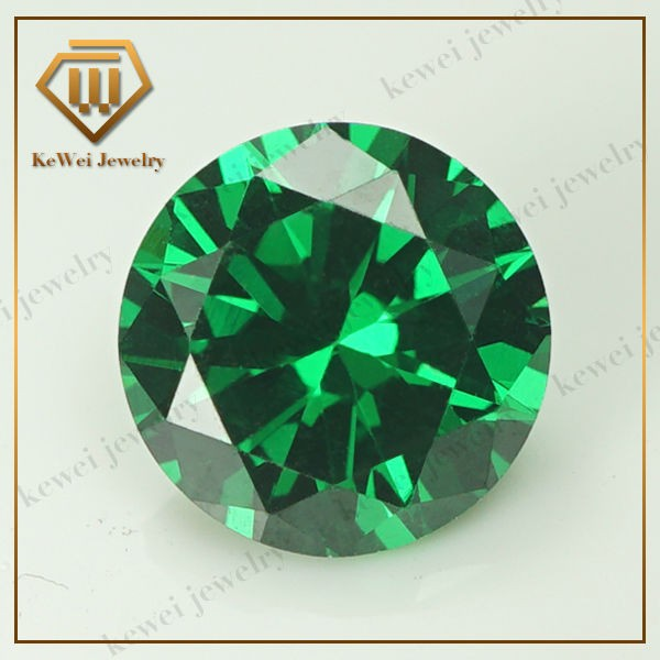 Synthetic Gems 8.25mm-15mm AAAAA Round Brilliant Cut loose CZ Stone Green Cubic Zirconia Stone