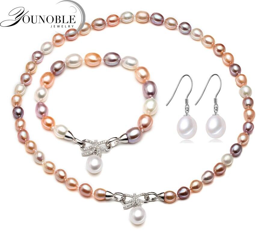 Beau vrai collier naturel et boucles d'oreilles ensembles femmes bracelet, coloré 925 argent bijoux de mariée ensembles perle anniversaire