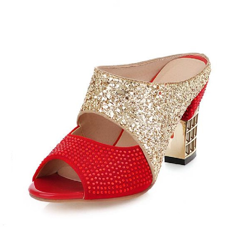 ФОТО Female High-Heeled Slippers Thick Heel Sandals Fashion String Beaded Open Toe Shoes Summer Party Slides 2017 Black+Red US 10.5