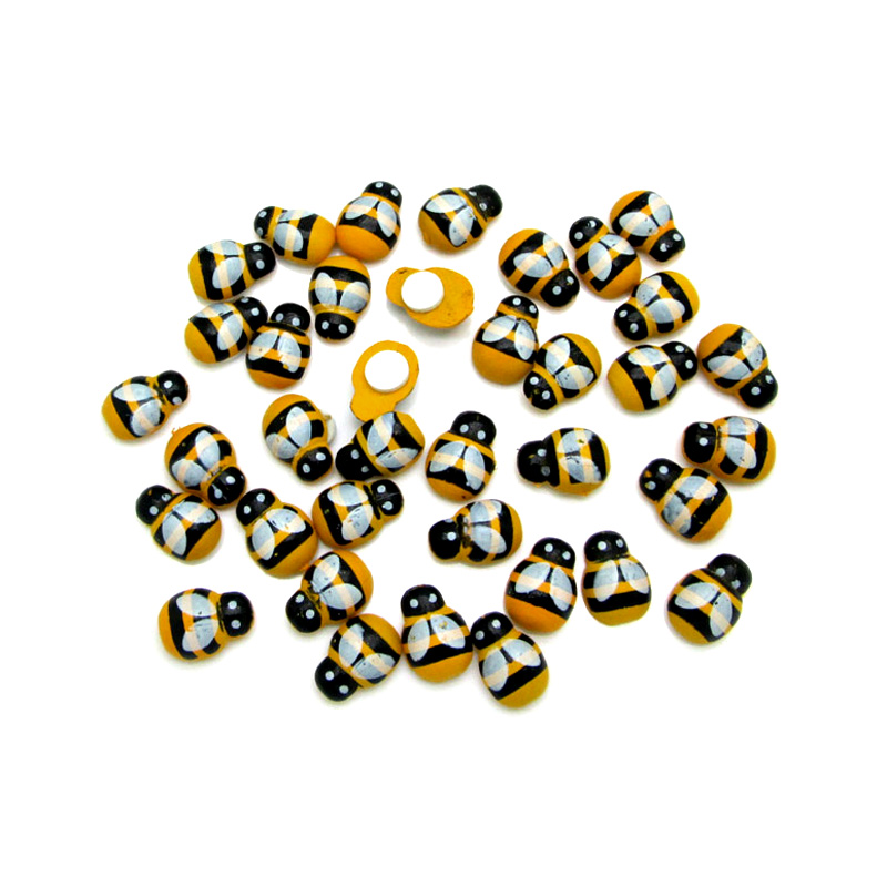 LF 100pcs Mixed 9x13mm Wooden Bee Flatback  Cabochon Decoration Handicraft For Scrapbooking Cardmaking Cute DIY Accessories