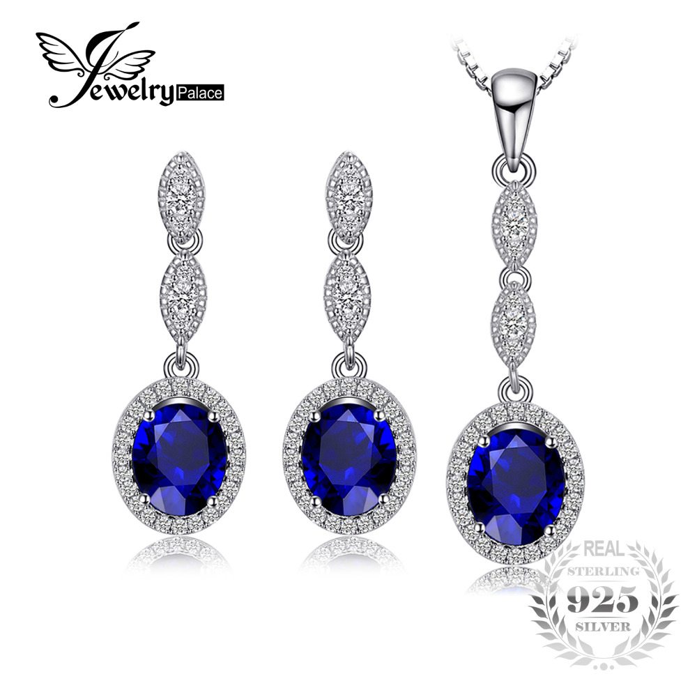 JewelryPalace Fashion 6.2ct Oval Blue Created Sapphire Pendant Necklace Drop Earrings Fine Jewelry Sets 925 Sterling Silver 45cm все цены