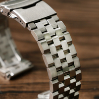 HQ Silver Black Replacement Folding Clasp With Safety Solid Link Women Stainless Steel Watch Band Strap