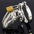 Pequeno castidade dispositivo de aço inoxidável caralho gaiola de Metal cinto de castidade masculino pênis anel Bondage brinquedos sexuais dragão Totem virgindade bloqueio