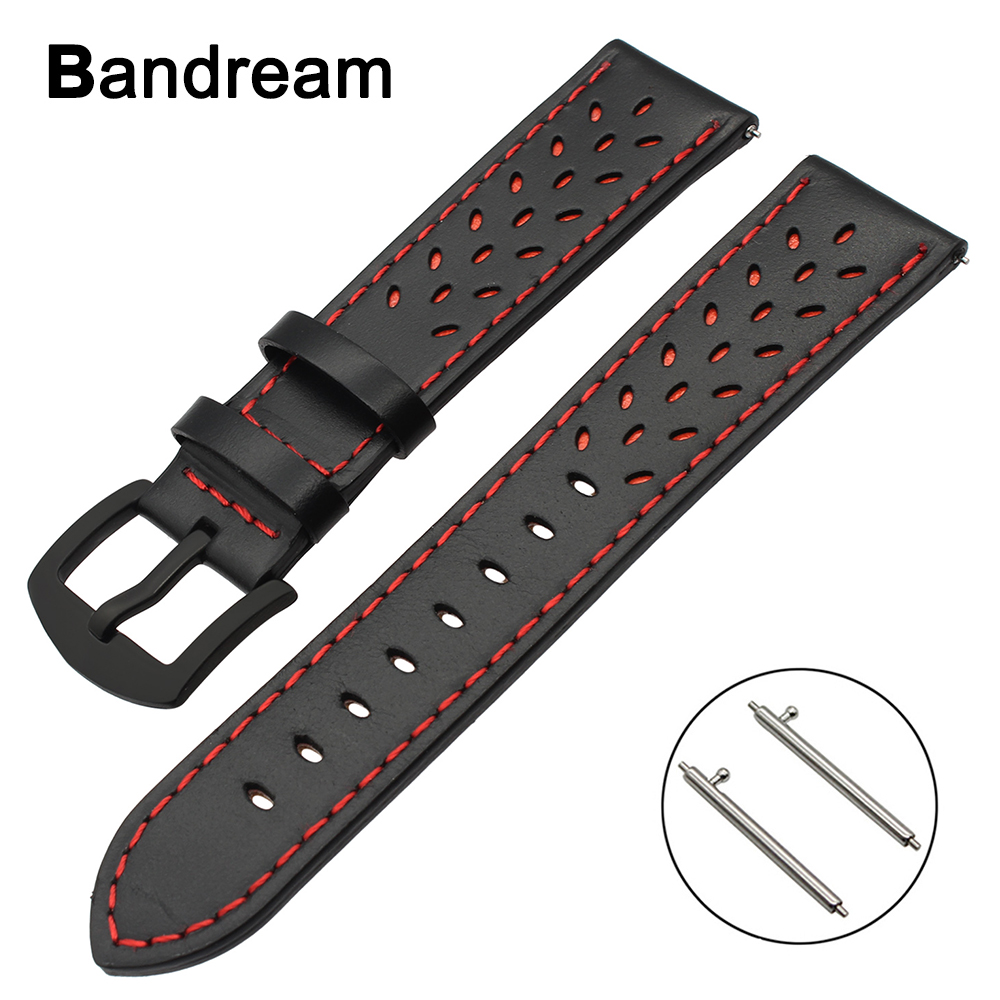 22mm Trefoil Genuine Leather Watchband for Huawei Watch 2 (Classic) Vector Ticwatch 1 <font><b>Moto</b></font> <font><b>360</b></font> 2 46mm <font><b>Band</b></font> Quick Release Strap image