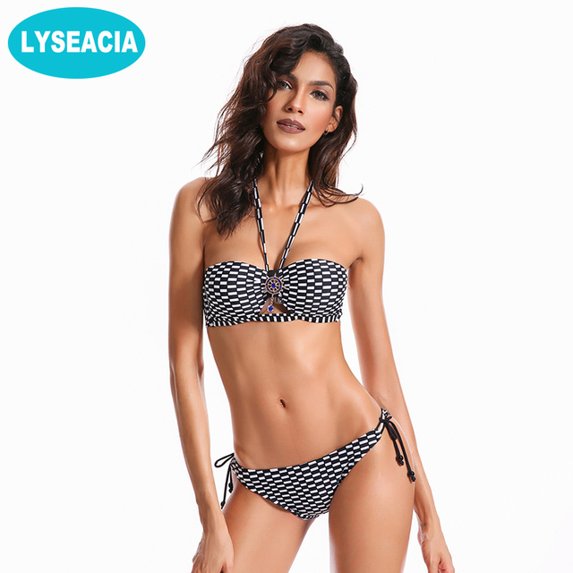 8f6d33cc124 LYSEACIA Plaid Bikini Push Up Women s Swimsuits Padded Bandeau Bikinis Low  Waist Swimwear Biquinis Adjustable Short