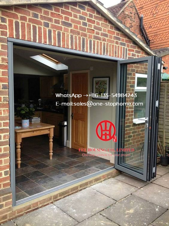 German Hardware Thermal Break Aluminum Double Glass Folding Door/bifolding Door,Customized Aluminum Alloy Outdoor Fold Door