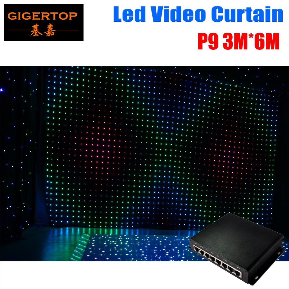 P9 3M*6M Led Video Curtain With PC Mode Dmx Online Controller Light Curtain For DJ Wedding Stage Backdrops LED Vision Curtain