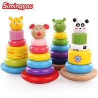 Simingyou Toys1pcs Montessori De Madera Colorido Animales Agitación Torre Tiger Panda Educación Aprendizaje B40-A-42 Envío de La Gota