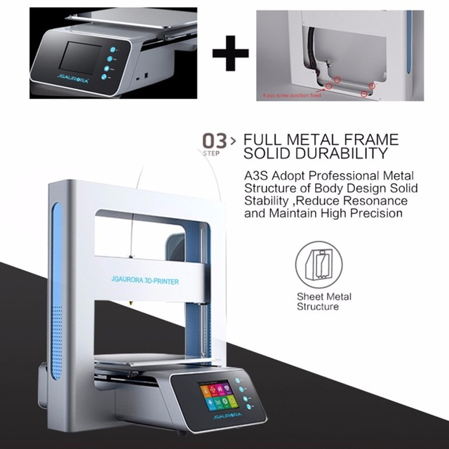 Portable 3D Printer Full Metal Frame High Precision Large Printing Size USB Printing Machine LCD Touch Screen Display 2