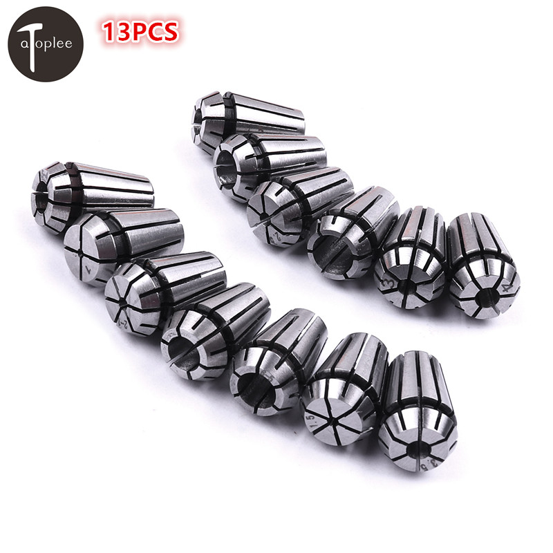 13PCS ER11 Precision Spring Collet Set 1-7mm CNC Collet Chuck For Engraving Milling Drilling Lathe Tools and Spindle Motors