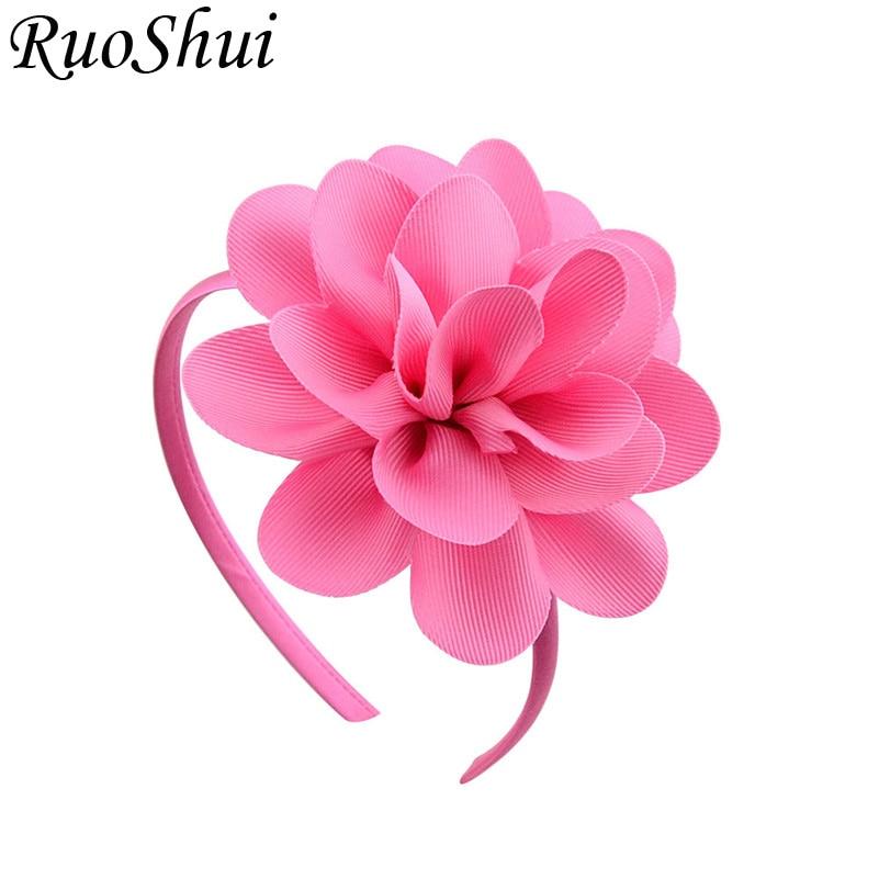 New Grosgrain Ribbon Big Flowers Hairband Princess Kids Hair Accessories Plastic Hair Band Girls Headband Headwear With Flower