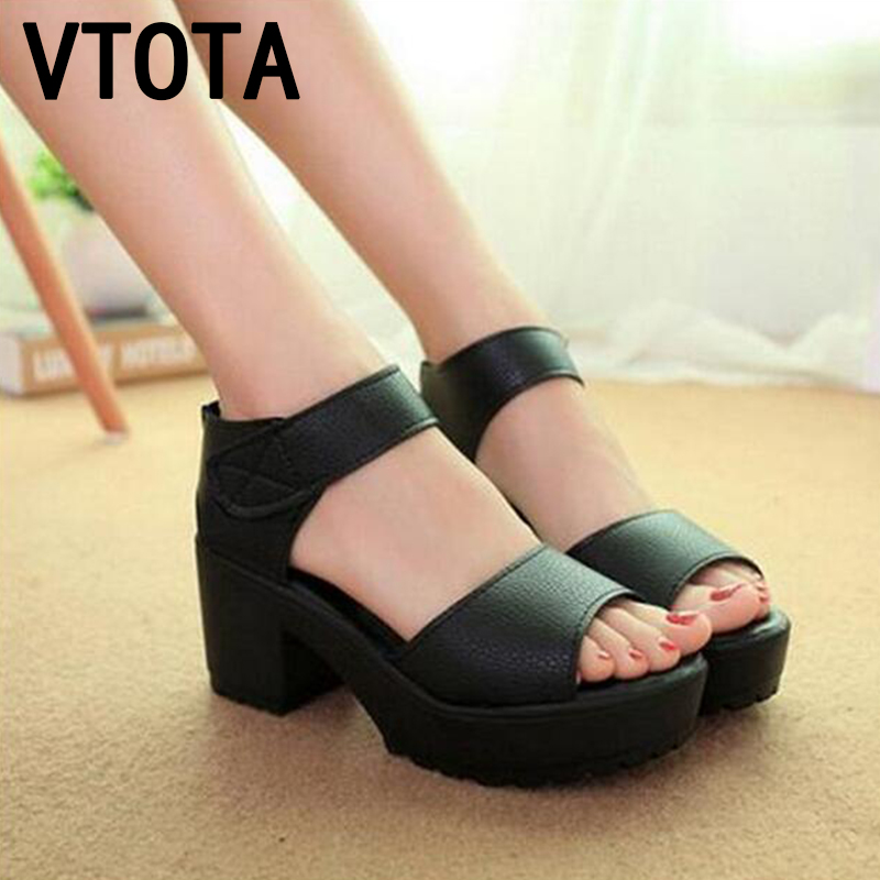 Vtota fashion women sandals soft pu summer shoes women platform sandals open toe sandalias trifle high