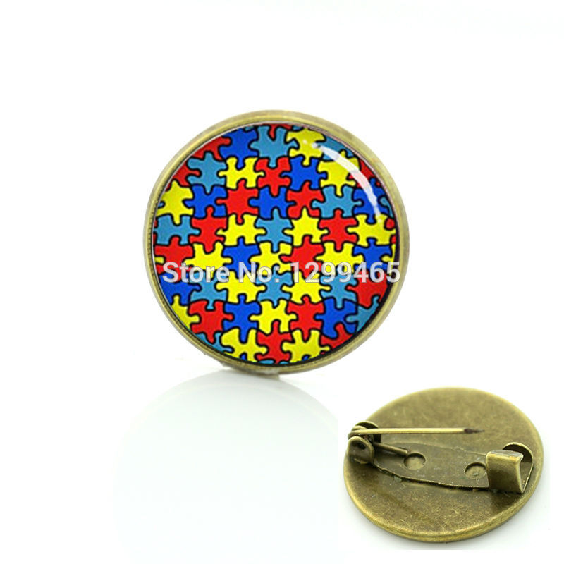 Autism heart antique bronze plated metal pin autism Puzzle Pieces brooches exquisite color mosaic badge women Mandala pins T525