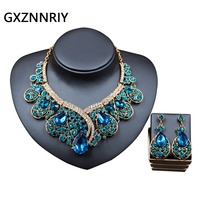Bridal Jewelry Sets for Women Rhinestone Crystal Flower Wedding Gold Necklace and Earrings Set Party Jewellery Sets Gifts