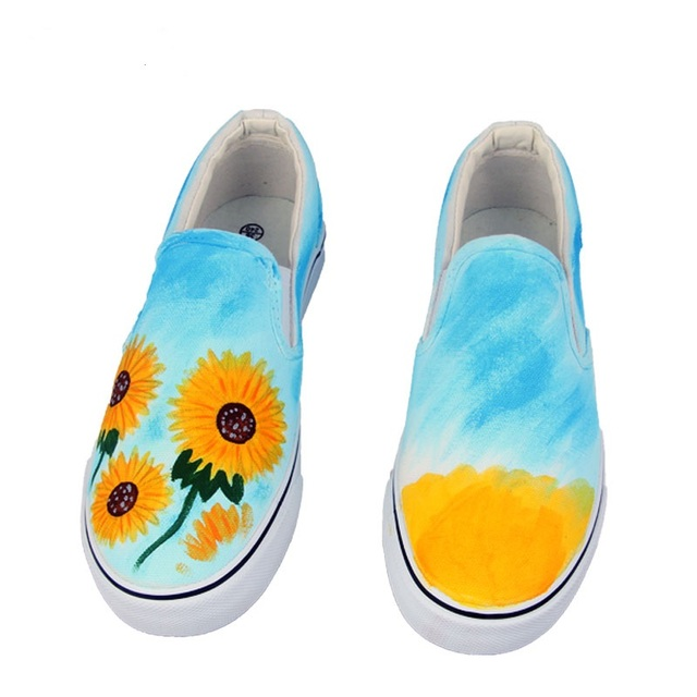 2017 Summer Women Hand Painted Canvas Shoes Floral Cartoon Casual Flats  Loafers Slip on Platform White Size 35-44 loafers b4abe76a6