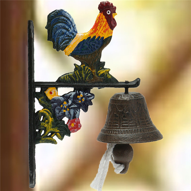 Door Bell Vintage Style Metal Cast Iron Rooster Wall Mounted Home Garden Decor Access Control For
