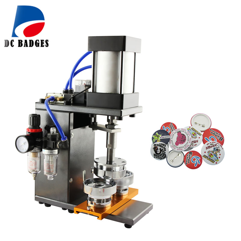 Pneumatic button badge machine efficiently badge press making machine enamel pins pneumatic press