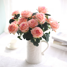 10 Heads Rose Artificial Flowers High Puality Silk Wedding Home Decoration Family Party Fake