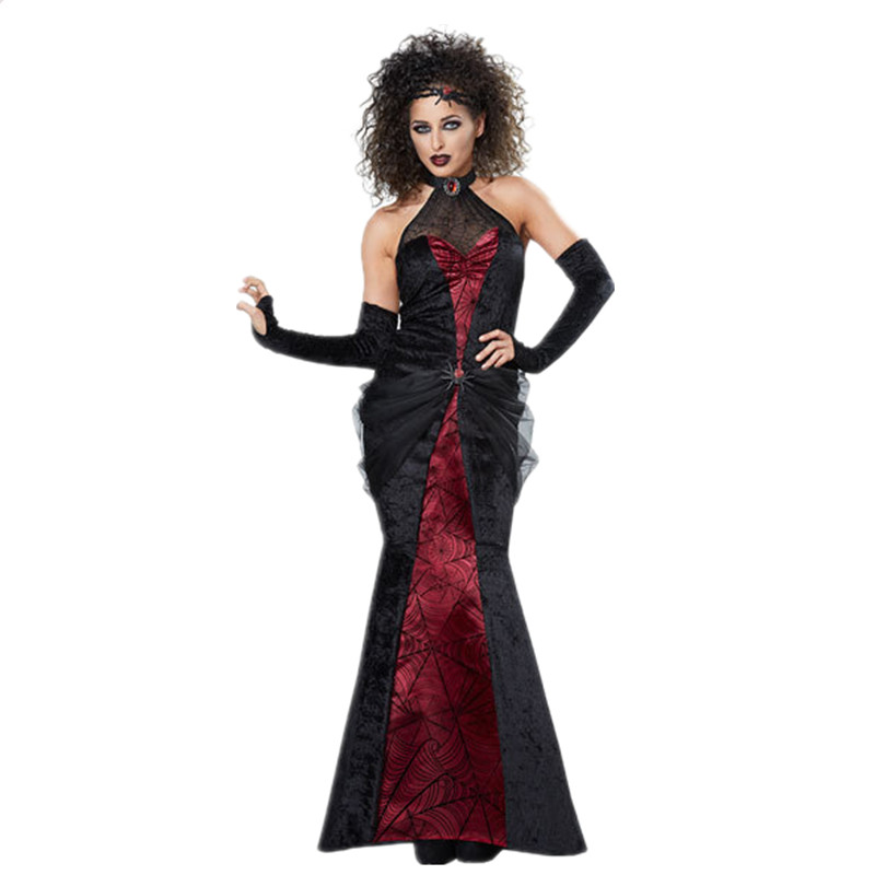 Witch Costume Adult Gothic Vampire Dress Halloween Fancy Dress