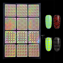1x 12 Tips Nail Art Stencils Stickers Multiple Use Irregular Pattern Nail Vinyls Decals Guide Polish Transfer Template