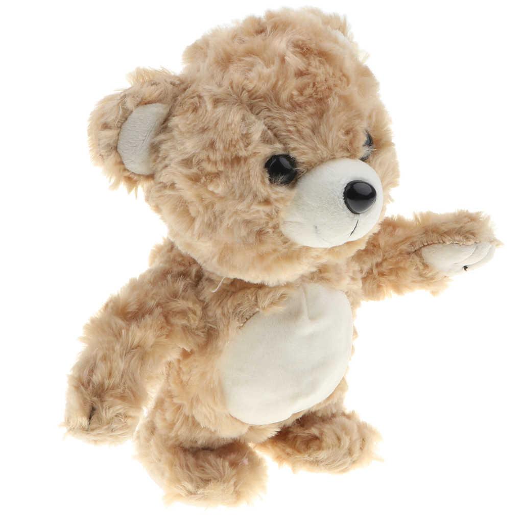 """8 """"pelúcia macia que fala a boneca do urso, repete o que você diz, cor marrom crianças andando animal brinquedo presente pelúcia animal de pelúcia"""