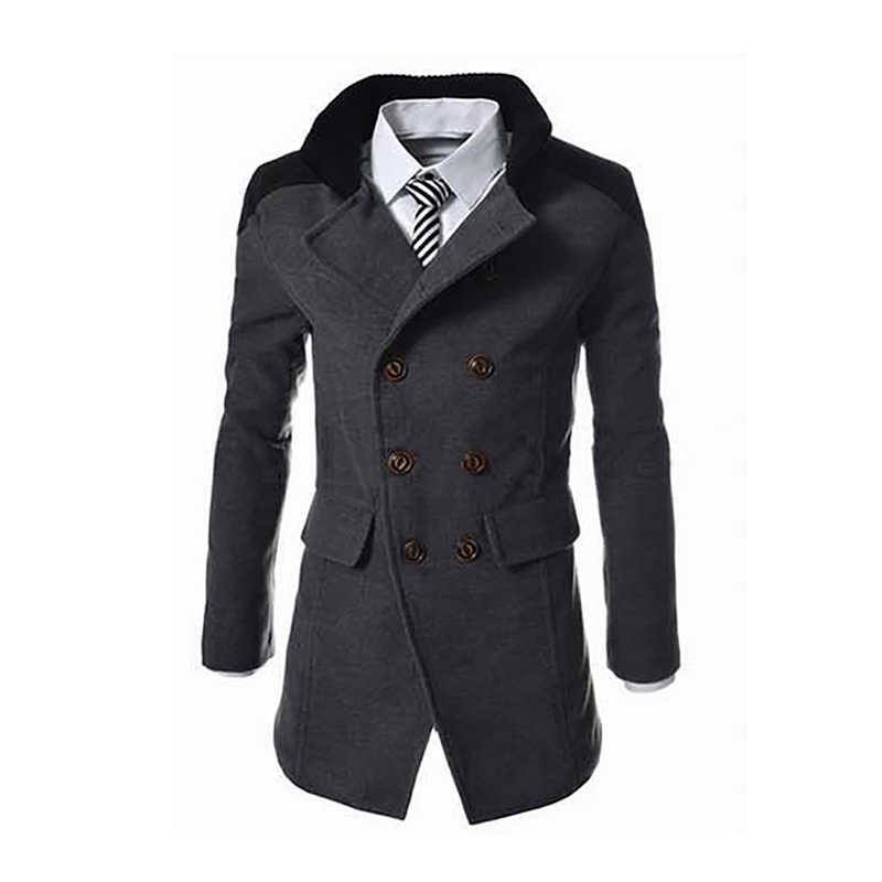 Male Brand Wool Blend Coat Long Sleeve Turn Down Collar Double Breasted Trench Men's Autumn Winter Slim Fit Outwear Coat