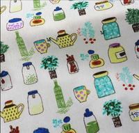 50x145cm Bottle Printed Cotton Linen Fabric For Quilting DIY Sewing Sofa Curtain Bag Cushion Furniture Cover