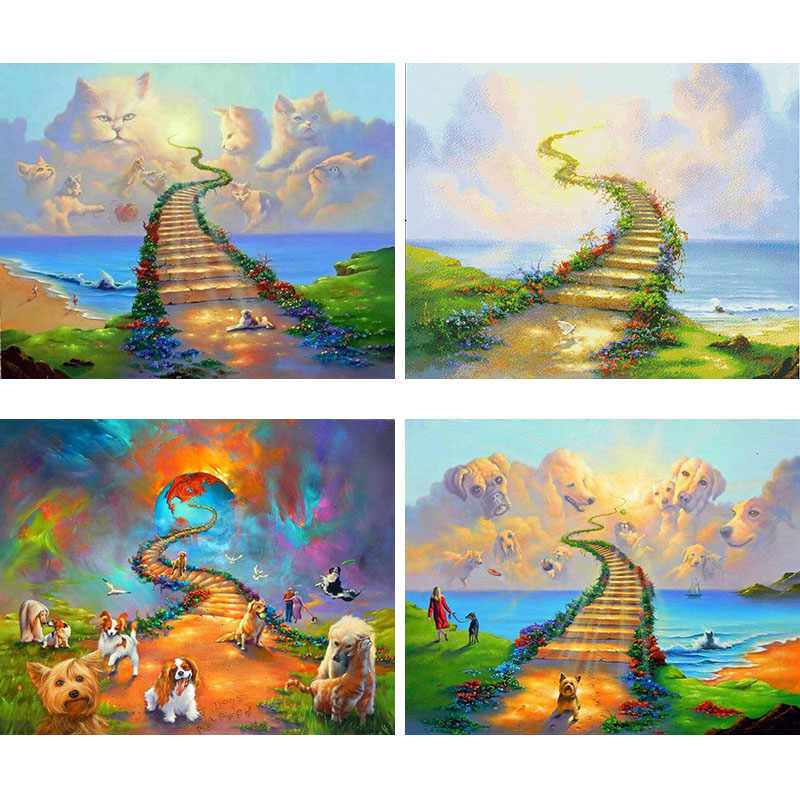 5D Needlework DIY Diamond Painting Cat Dog Heaven Rainbow Bridge Cross Stitch Square Diamond Embroidery Home Decor Mosaic