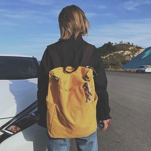 Image 3 - Solid Color Multifunctional Bag Canvas Backpack Women Mochila School Bag For Travel Backpacks School Backpack For Girls