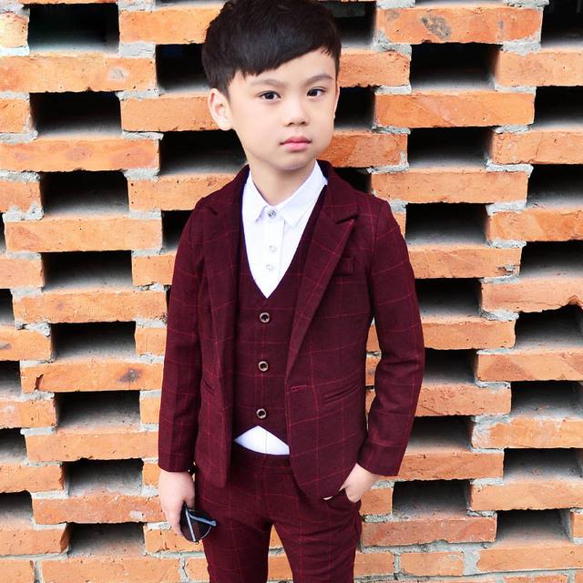 Boy's Plaid Three Pieces Suit Set