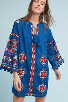 Boutique Blue Dress Women 2019 Rope Fringe And Fuff Trim Design Beautiful Delicated Pattern Embroidery 100%Cotton Casual Dress