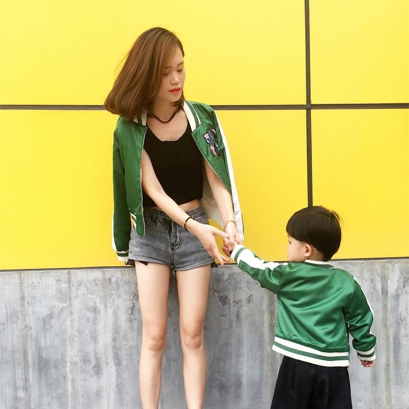 Куртки для мальчиков для мамы и сына одежда для мамы и дочки детские бейсбольные куртки осень вышивка кактус узор форма