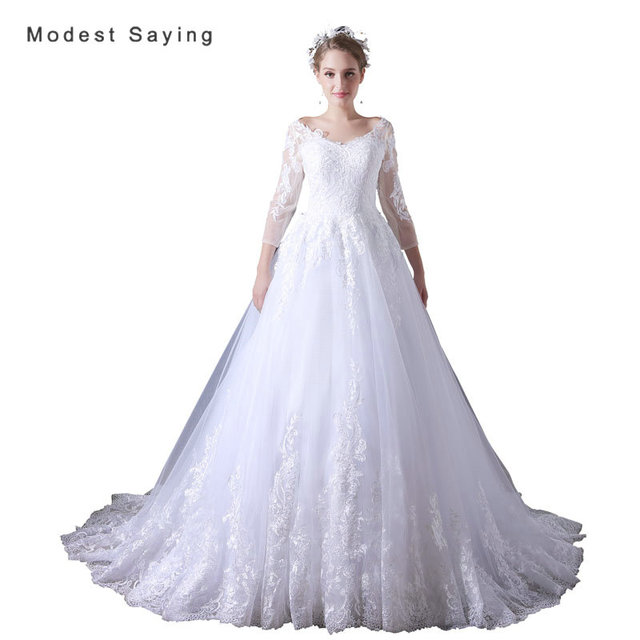 1b7043d89f Elegant White Ball Gown Applique Lace Wedding Dresses 2017 with 3 4 Sleeve  Formal Women Long Bridal Gowns vestido de noiva A030