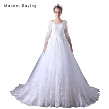 Elegant White Ball Gown Applique Lace Wedding Dresses 2017 with 3/4 Sleeve Formal Women Long Bridal Gowns vestido de noiva A030