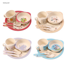Hot New 5 Pcs/Set Baby Feeding Bowl Plate Forks Spoon Cup Dinnerware Set Bamboo Tableware High Quality