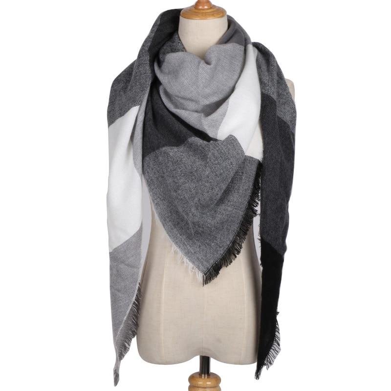 Winter Luxury Brand Triangle Scarf Kvinnor Cashmere Pink Plaid Sjalar och Wraps Filt Foulard Dropshipping Inte hårborttagning