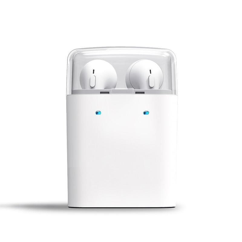 Фотография DULCII Sports Earphone TWS Mode True Wireless Bluetooth 4.2 Double Earbads HiFi Earphone + 400mAh Charge Box with mic White