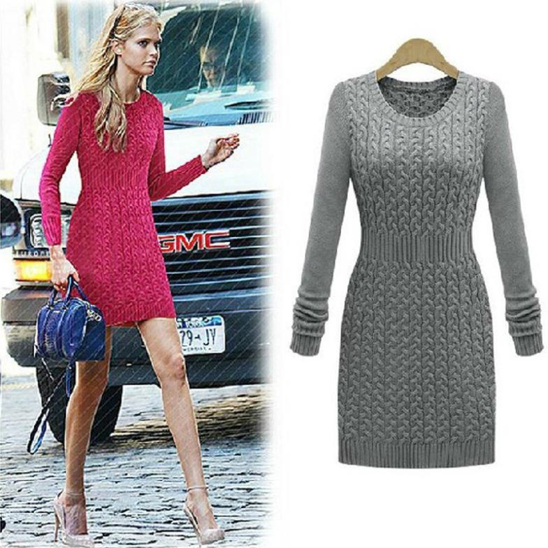 2014 new style slim waist dresses Womens long sweater girls retro ...