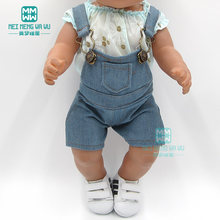 Kleding voor doll fit 43-45 cm baby speelgoed pasgeboren pop en Amerikaanse pop fashion Casual denim overalls set(China)