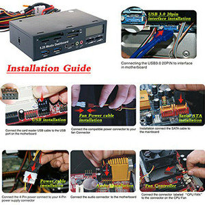 Image 2 - PYMH 5.25 인치 USB 3.0 PC 전면 패널 미디어 대시 보드 카드 리더 허브 SATA PCIE PCE E