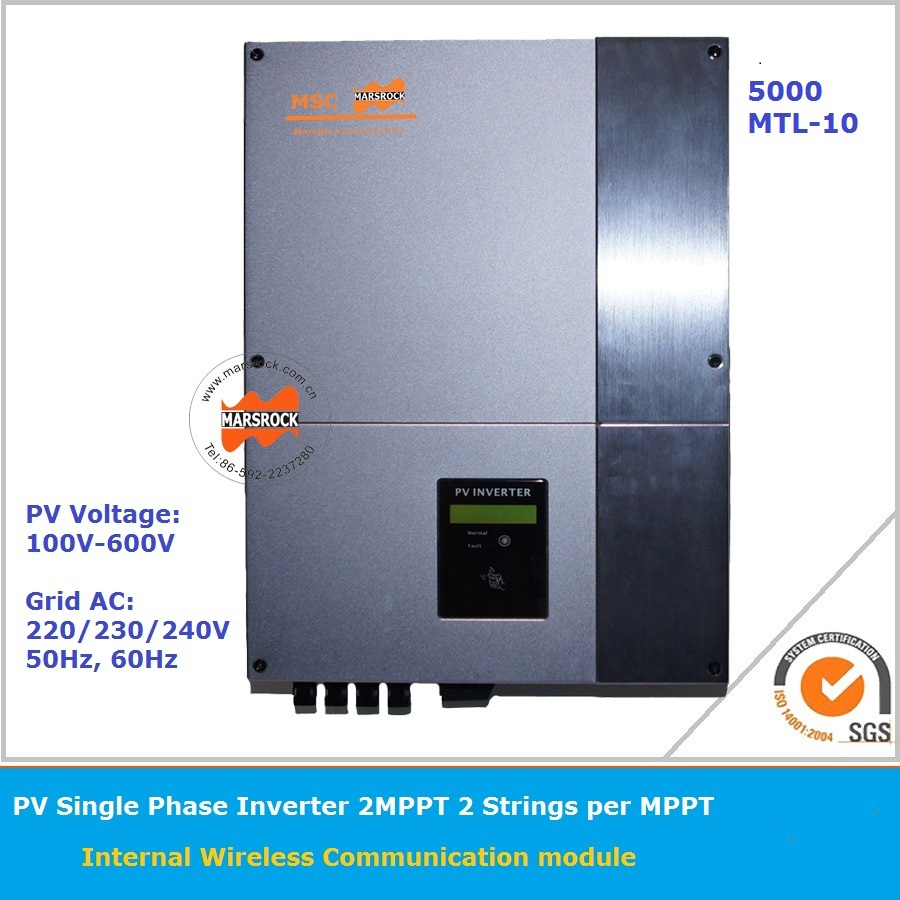 5000W input 100-600v grid tie solar inverter with 2MPPT Function IP65 LCD display different languages can be monitored online 5000w single phrase on grid solar inverter with 1 mppt transformerless waterproof ip65 lcd display multi language