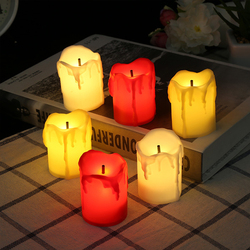 6Pcs LED Candle Flameless Tealight Battery Operated Candles Real Paraffin Wax Pillars Holiday Wedding Party Decor  3 Color