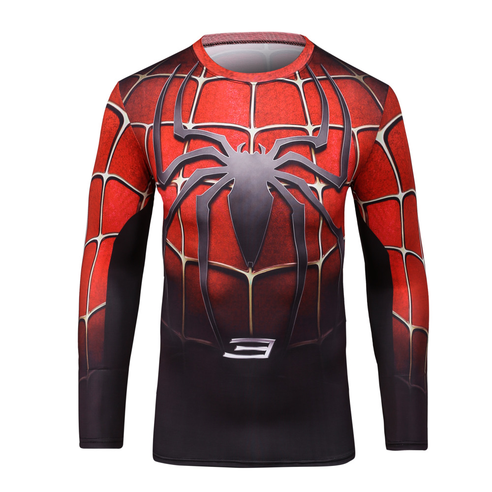 Marvel men compression shirt captain america spiderman for Quick print t shirts